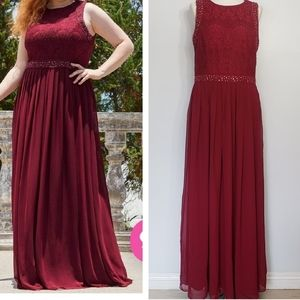 EVER PRETTY burgundy lace sleeveless plus dress